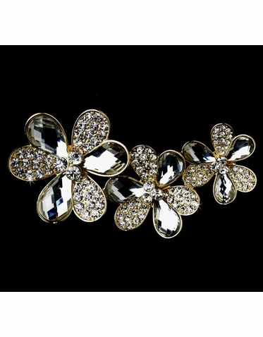 Triple Flower Crystal Brooch in Gold with Clear Crystals