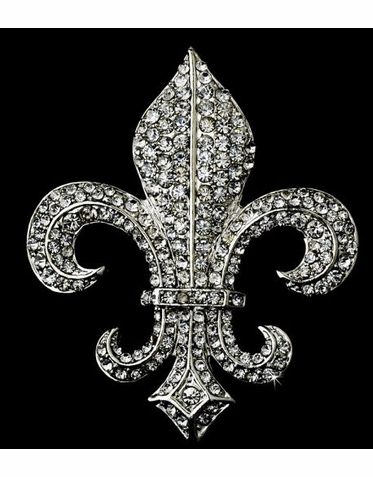 Crystal Fleur de Lis Brooch in Silver Setting