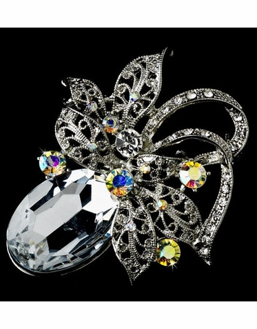 Budding Bloom Crystal Bridal Brooch - Bridal Pin