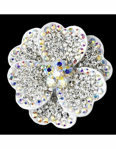 White Flower Brooch with AB and Clear Crystals