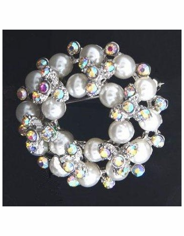 Pearl and Iridescent Crystal Wreath Brooch