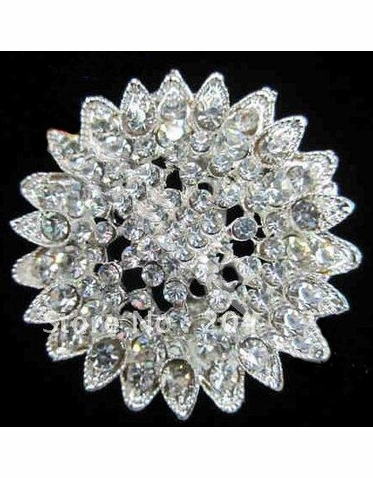 Clear Crystal Sunburst Brooch