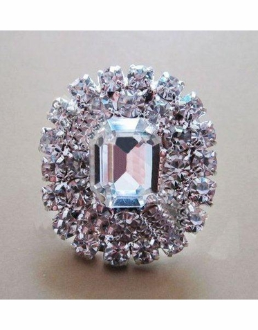 Emerald Cut Crystal Button Brooch