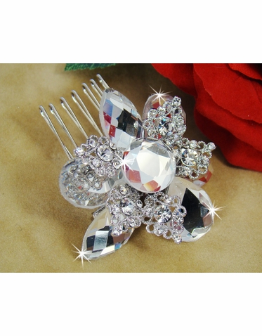 Large Crystal Brooch or Comb