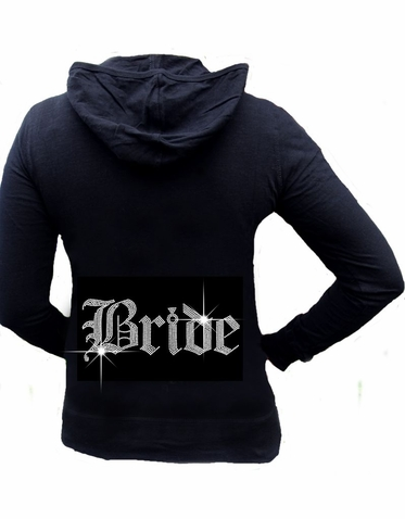 Rhinestone Bride Slub Hoodie with Large Olde English Lettering