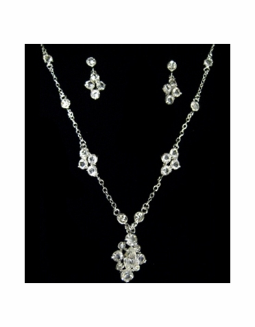 CLEARANCE: Silver and Crystal Necklace and Earring Jewelry Set-1017