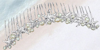 Silver Starfish and Pearl Bridal Headpiece B9610M