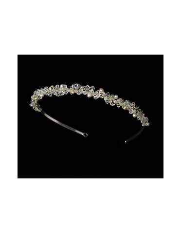 Crystal with Rum and Ivory Freshwater Pearls Headband