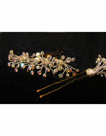 Iridescent Crystal Cluster Hair Pins
