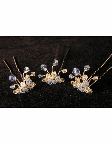 Something Blue Crystal Hairpins