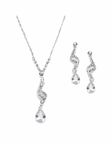 Shimmering Zirconia Pear Drop Necklace Set