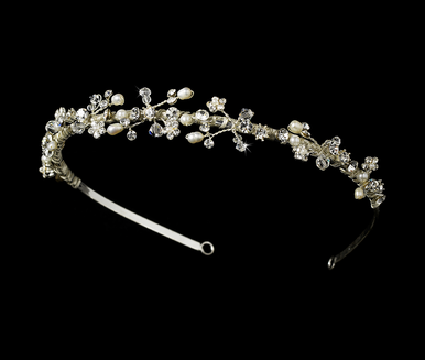 Freshwater Pearl and Crystal Tiara in Open Pattern