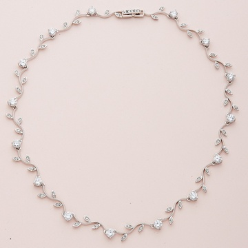 Silver Vine Pattern Necklace with Clear Round CZ