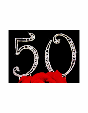 Crystal 50th Anniversary Cake Topper in Silver or Gold