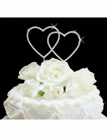 Crystal Double Heart Cake Topper