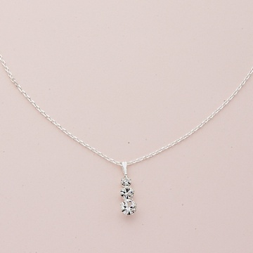 Silver Graduated Round Crystal Necklace