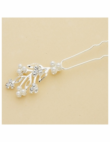 White Pearl and Crystal Silver Floral Hair Pin
