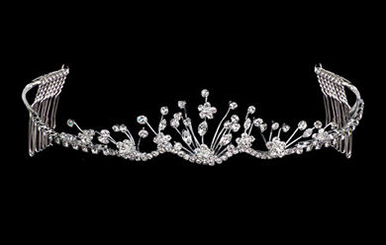 Silver Wire Rhinestone Flower Tiara with Combs TR1135