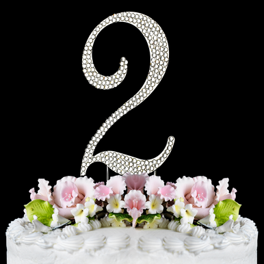 Number 2 Birthday or Anniversary Cake Topper