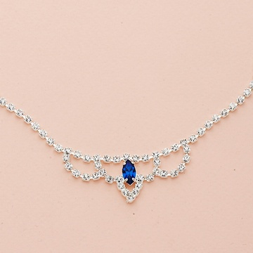 Silver Marquise Crystal Drape Necklace