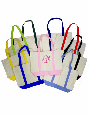 Monogrammed Canvas Tote Bag with Custom Embroidery