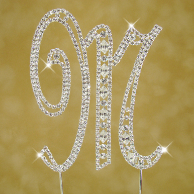 Crystal Cake Initial with Vintage Design