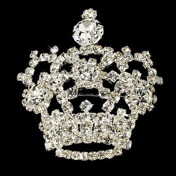 Wedding or Bridal  Royal Rhinestone Crown Brooch 30265