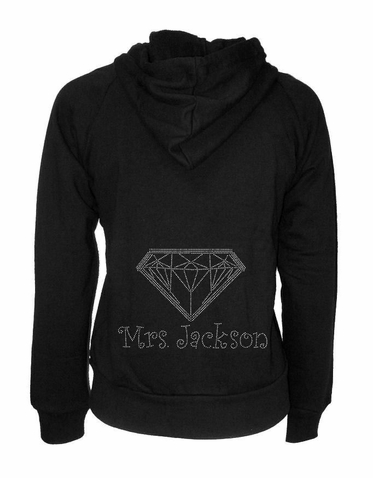 Custom Bride Hoodie with Big Crystal Diamond