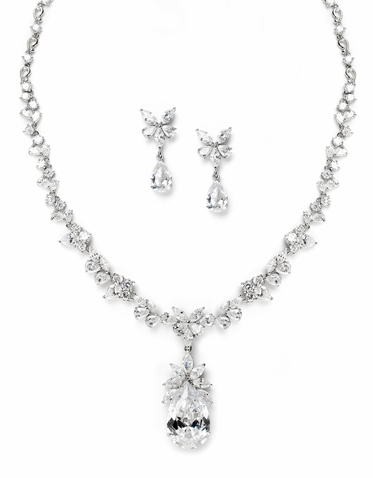 Lavish Regal Cubic Zirconia Wedding Teardrop Necklace Set