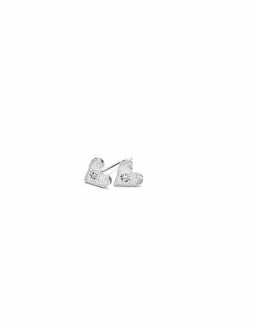 CLEARANCE: Dogeared Bridal Jewelry - Diamond Heart Sterling Silver Earrings