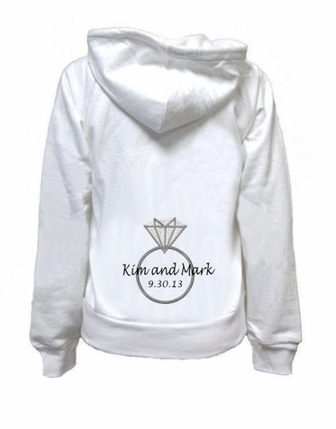 Bride Hoodie with Diamond Ring, Names and Date