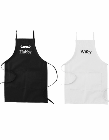 Custom Printed Hubby and Wifey Apron Set