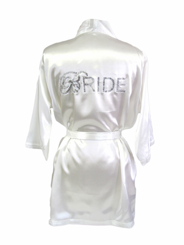 Custom Rhinestone Bride Robe in Satin Colors