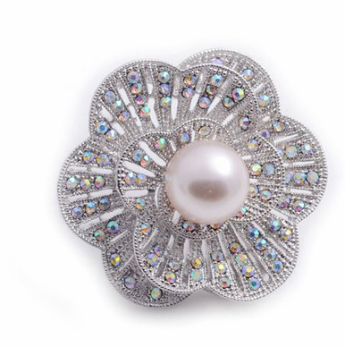 AB Iridescent Crystal Brooch with Pearl Center