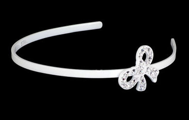 White Headband with Rhinestone Covered Side Bow TRS1298