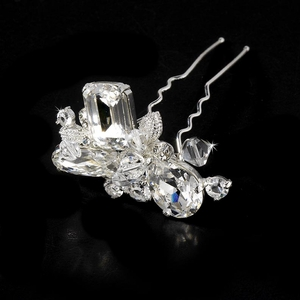 Crystal Cluster Hair Pin in Silver and Gold