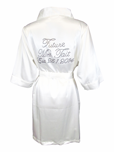 """Future Mrs"" Custom Satin Bridal Robe"