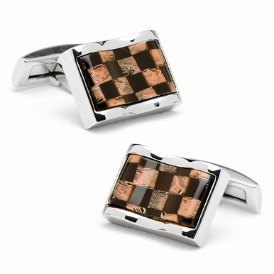 Stainless Steel Waive Check Cufflinks