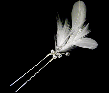 CLEARANCE: Set of 6 Bridal Hair Pins with Feathers and Crystal