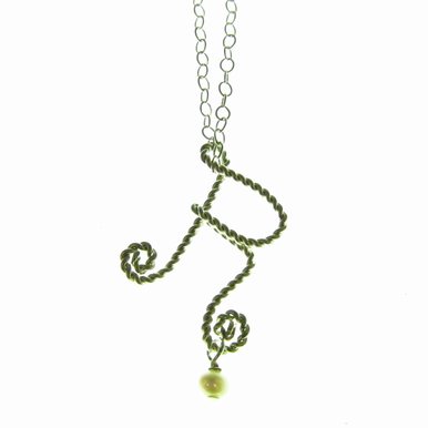 Rafia Jewelry - Small Initial Charm Necklace with Pearl Dangle