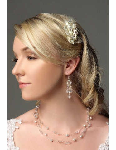 Bridal Haircomb With Mother Of Pearl And Crystals ICB013