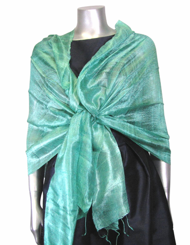 Silk Evening Shawl in Aegean