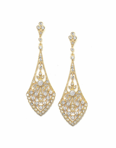 Vintage Inspired Gold Zirconia Earrings