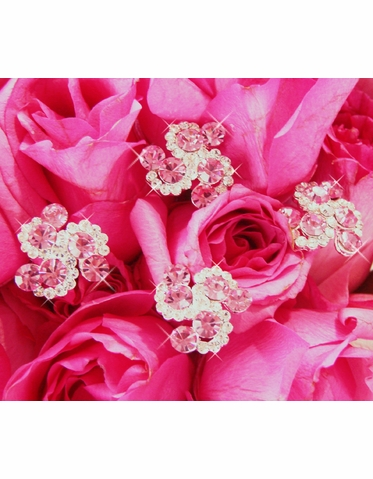 Pink Crystal Bouquet Swirls - Set of 2 - Other Colors Too!