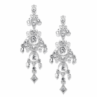 Shimmering, Rhinestone Drenched Chandelier Earrings