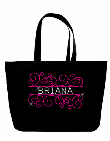 Rhinestone Bride and Bridesmaid Tote Bags in Graceful Scroll Design