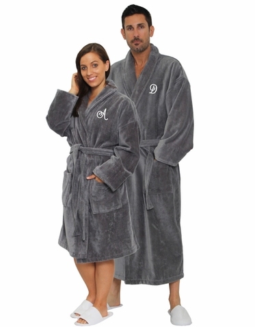 Set of Personalized Terry Velour Bath Robes with Shawl Collar - Anniversary Spa Robes for Him and Her
