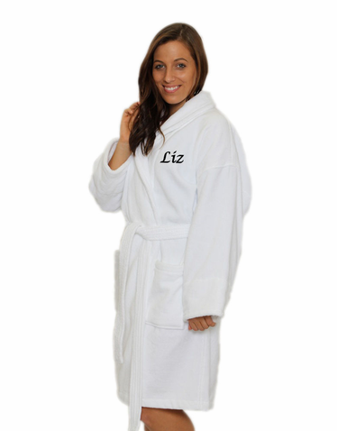 Personalized Velour Bath Robe with Shawl Collar for Him or Her
