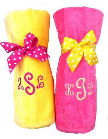 Monogrammed Beach Towel with Your Choice of Bow