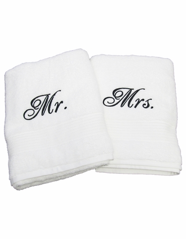 Mr. and Mrs. Embroidered Terry Bath Towels